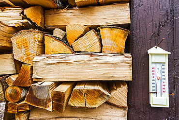 firewood and thermometer. Burguete, Pyrenees. Navarre, Spain, Europe