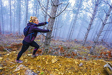 Woman doing sport in a pine forest. Bargota village area. Navarre, Spain, Europe