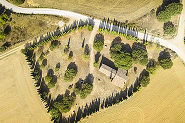Shrine aerial view in a rural land. Navarre, Spain, Europe