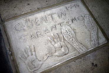 Quentin Tarantino¥s prints in Grauman's Chinese Theatre, Hollywood Boulevard.