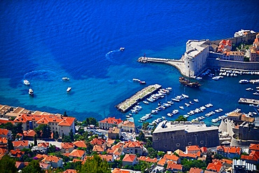 Views of the Old Port of Dubrovnik from above, Croatia