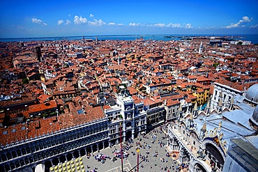 View of Piazza San Marco and the Basilica of San Marco (St. Mark's Basilica) from the Campanile di San Marco (St. Mark's bell tower), Venice, Italy