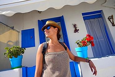 Attractive young woman in Mykonos, Greece