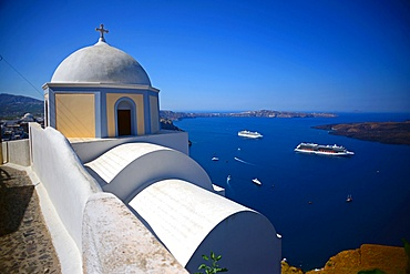 Hillside church in Fira, Santorini, Greek Islands, Greece