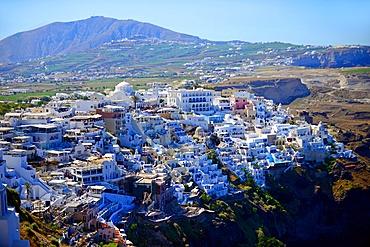 White buildings on the hillside of Fira, Santorini, Greek Islands, Greece