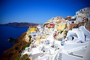 Hillside buildings in Oia, Santorini, Greek Islands, Greece