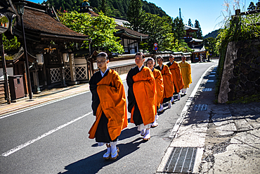 Group of female monks walking in the streets of Koyasan or Mount Koya, a huge temple settlement in Wakayama Prefecture