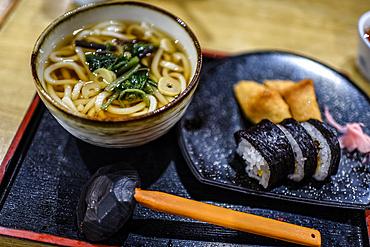 Japanese mean in restaurant table, Koyasan, Japan