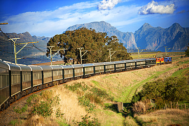 The Rovos Rail luxury train travelling between Cape Town and Pretoria in South Africa Pride of Africa beautifully rebuilt Classic train that form part of the luxurious and privately owned Rovos Rail fleet