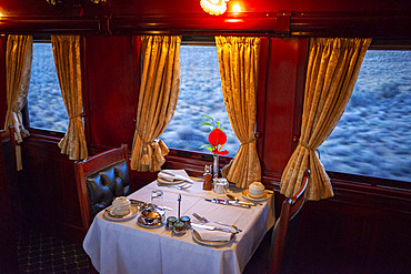 Restaurant car of the The Rovos Rail luxury train travelling between Cape Town and Pretoria in South Africa Pride of Africa beautifully rebuilt Classic train that form part of the luxurious and privately owned Rovos Rail fleet