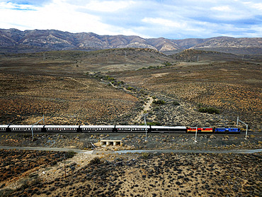 The Rovos Rail luxury train travelling between Cape Town and Pretoria in South Africa In the Karoo town of Matjiesfontein station Pride of Africa beautifully rebuilt Classic train that form part of the luxurious and privately owned Rovos Rail fleet