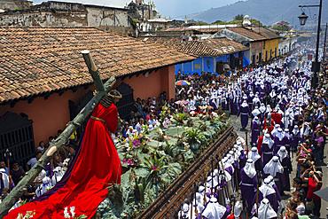 Easter Holy Week procession in Antigua, Guatemala. Jesus Nazareno de la Penitencia Procession in Antigua, Guatemala. Holy Week, friday.