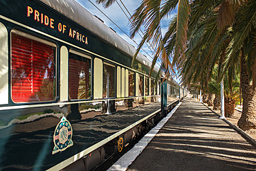 The Rovos Rail luxury train travelling between Cape Town and Pretoria in South Africa Matjiesfontein station Pride of Africa beautifully rebuilt Classic train that form part of the luxurious and privately owned Rovos Rail fleet