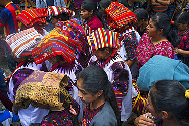 Chichicastenango, Quiche, Guatemala, Central America. Typical women hats during Holy Week processions.