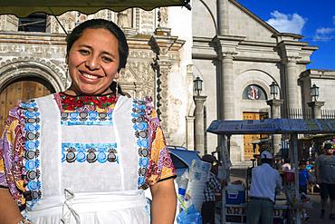 Ice cream woman seller in America Central Park, Quetzaltenango city Guatemala.