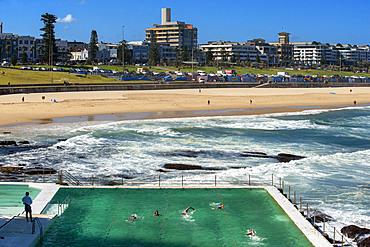 Bondi Icebergs swimming pool, Bondi Beach, Sydney, New South Wales, Australia. The Bondi beach to Coogee walk is a coastal walk in Sydney New South Wales, Australia
