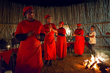 Night dinner wiht fire and dances at Mala Mala Game Reserve Sabi Sand Park Kruger South Africa, Africa