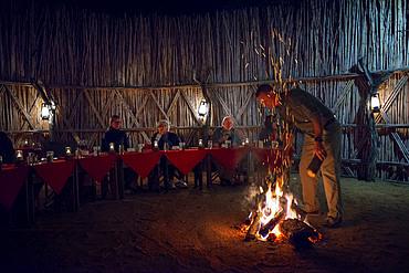 Night dinner wiht fire at Mala Mala Game Reserve Sabi Sand Park Kruger South Africa, Africa