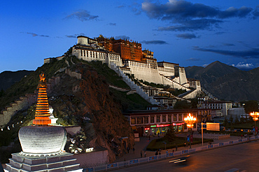 Potala palace, former Dalai Lama residence in Lhasa in Tibet. The Potala Palace is a dzong fortress in the city of Lhasa, in Tibet. It was the winter palace of the Dalai Lamas from 1649 to 1959, has been a museum since then, and is a World Heritage Site since 1994.