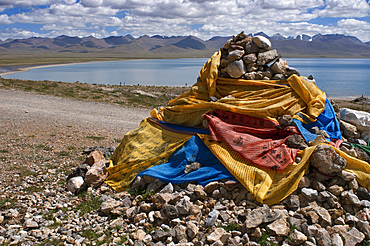 """Namtso lake or Nam tso lake in Tibet China. Nam Tso Lake is the second largest lake in Tibet, and one of the most famous places on the """"Roof of the World"""". The lake itself is located at an altitude of 4,718 m, and has an area of 1,920 km². This lake is the largest of the lakes in the Tibet Autonomous Region, although it is not the largest on the Qinghai Tibet Plateau, a title that belongs to Lake Qinghai, more than twice the area of Namtso, which is more than 1,000 km, in the northeast, in Qinghai province."""