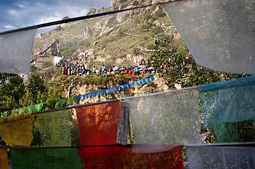 Lhasa Drepung Monastery Shoton festival or Shodon Festival with the unrolling of the huge thangka, a silk painting depicting Buddha Lhasa Tibet. Yogurt festival.