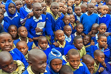 Outside primary and second school in a small village near Kitui city in the Kamba country in Kenya, Africa.