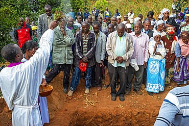 Funeral for the death of a person due to Coronavirus and AIDS in a small village near Kitui city in the Kamba country in Kenya, Africa.