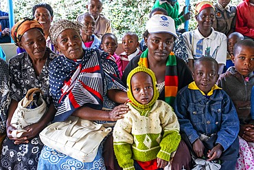 Outside the church. Christian sunday mass in a small village near Kitui in the Kamba country in Kenya, Africa.