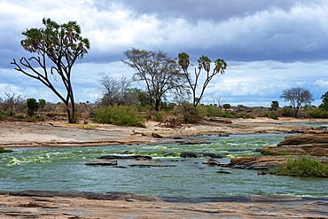 Voi river in front of Taita Hills, Tsavo East National Park, Kenya