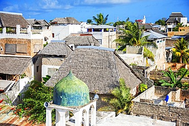 Rooftops architecture houses and strees of the city town of Lamu in Kenya