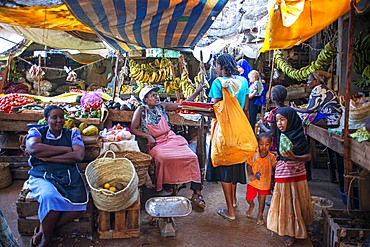 Woman selling vegetables in the market, Lamu town, Lamu Archipelago, Kenya