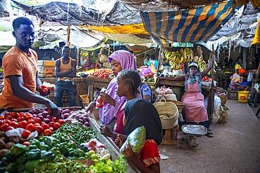 Man selling vegetables in the market, Lamu town, Lamu Archipelago, Kenya