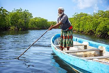Fisher boat in Makanda Channel, Lamu archipelago, Kenya. Red mangroves along coastline of Manda Island
