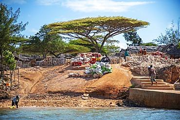 Stone village construction near the Takwa ruins on Manda Island in Lamu Island Kenya