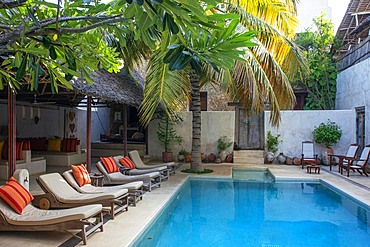 The Pool And Long Chairs In Lamu Patio House Hotel, Lamu, Kenya