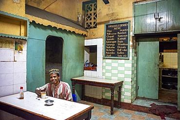 Local restaurant on the main street of Lamu town in Lamu Island Kenya