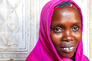 Portrait of a battered women. Afrikable spanish NGO in Lamu island Kenya. This association tries to empower women who have been victims of abuse. By making souvenirs that are later sold in the village store and the schooling of their children.