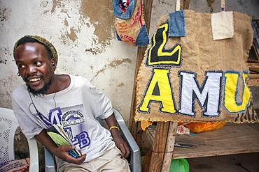 Souvenirs shop selling in Lamu town in Lamu Island, Kenya.