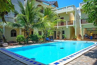 Pool of a nice house and hotel in Shela beach in the south of Lamu island archipelago in Kenya