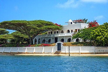 Nice houses and hotels in Shela beach in the south of Lamu island archipelago in Kenya. Mick Jagger and Madonna house.