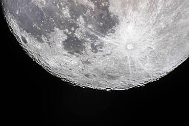 The 13.7-day-old Moon (a day before Full) with the south polar region tipped toward us in a favourable libration for viewing the southern regions and features. This was April 6, 2020. The large crater, Bailly, is on the southern limb, better seen here than at most similar phases, due to the favourable southern libration.