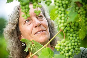 Woman Farmer inspecting grapes