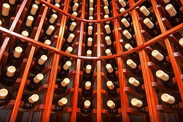 Wine bottles in wine rack