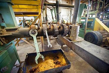 Inside soybean oil plant