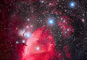 This is the Belt of Orion with its three blue stars across the top of the frame (L to R: Alnitak, Alnilam, and Mintaka), with the iconic Horsehead Nebula (aka B33) below Alnitak, with the dark Horsehead set against the bright nebula IC 434, aka Orion's Dagger. The pinkish nebula above Alnitak is NGC 2024, the Flame Nebula. The small blue reflection nebula left of the Horsehead is NGC 2023, with smaller IC 435 to the left of it. The field is filled with the large open cluster Collinder 70. The multiple star at bottom left of centre is Sigma Orionis. Many other smaller bits of reflection nebulas populate the field in and around the Belt.
