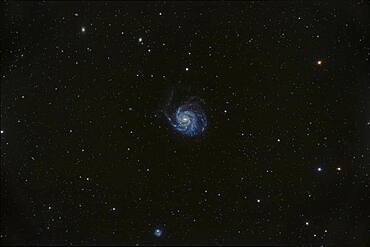 Messier 101, the Pinwheel Galaxy in Ursa Major, a classic face-on spiral galaxy, large and obvious in binoculars.  The odd galaxy at bottom is NGC 5474.