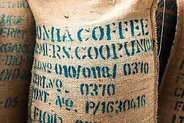 Addis Ababa, Ethiopia - A bag of arabica coffee beans ready for export at Oromia Coffee Farmers Cooperative.