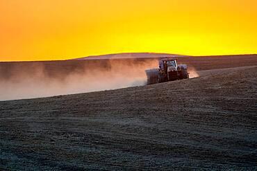 Fall wheat conventional wheat planting near Palouse Washington