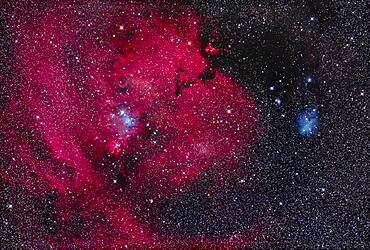 This is the nebula rich region in the constellation of Monoceros the Unicorn with the dark Cone Nebula (left of centre) and the small V-shaped and bright Hubble's Variable Nebula at bottom, a reflection nebula that varies in form and brightness. Above the Cone Nebula is the triangular Christmas Tree Cluster, NGC 2264, here upside down as the bright blue star 15 Mon is the base of the tree. The large region of nebulosity is Sharpless 2-273. The V-shaped dark nebula above centre is LDN 1603.
