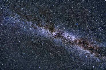 A wide-angle view of the Northern Hemisphere autumn Milky, from Aquila at bottom right in thw south, to Cassiopeia and Perseus at upper left in the northeast. Cygnus is at centre overhead on a late October evening. The Summer Triangle stars are at centre and right; the Andromeda Galaxy and Triangulum galaxies are at bottom left. The dark nebula Le Gentil 3, aka the Funnel Nebula, is at centre.